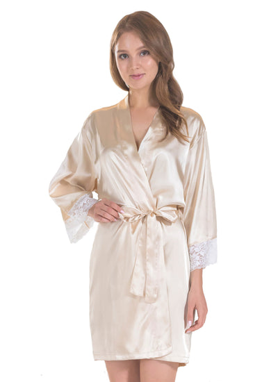 Lt. Gold Bridesmaid Satin Robe with Lace