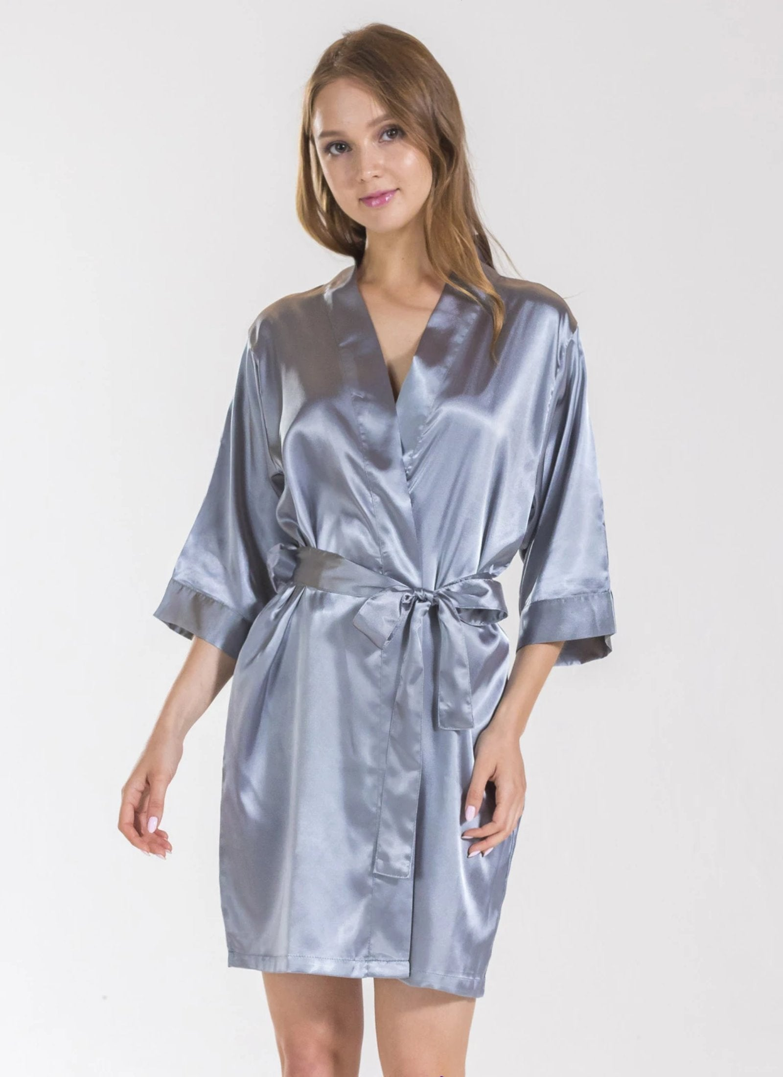 Grey Bridesmaid Satin Robe Sale Bella Bride Bridal
