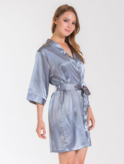 Grey Bridesmaid Satin Robe - Sale