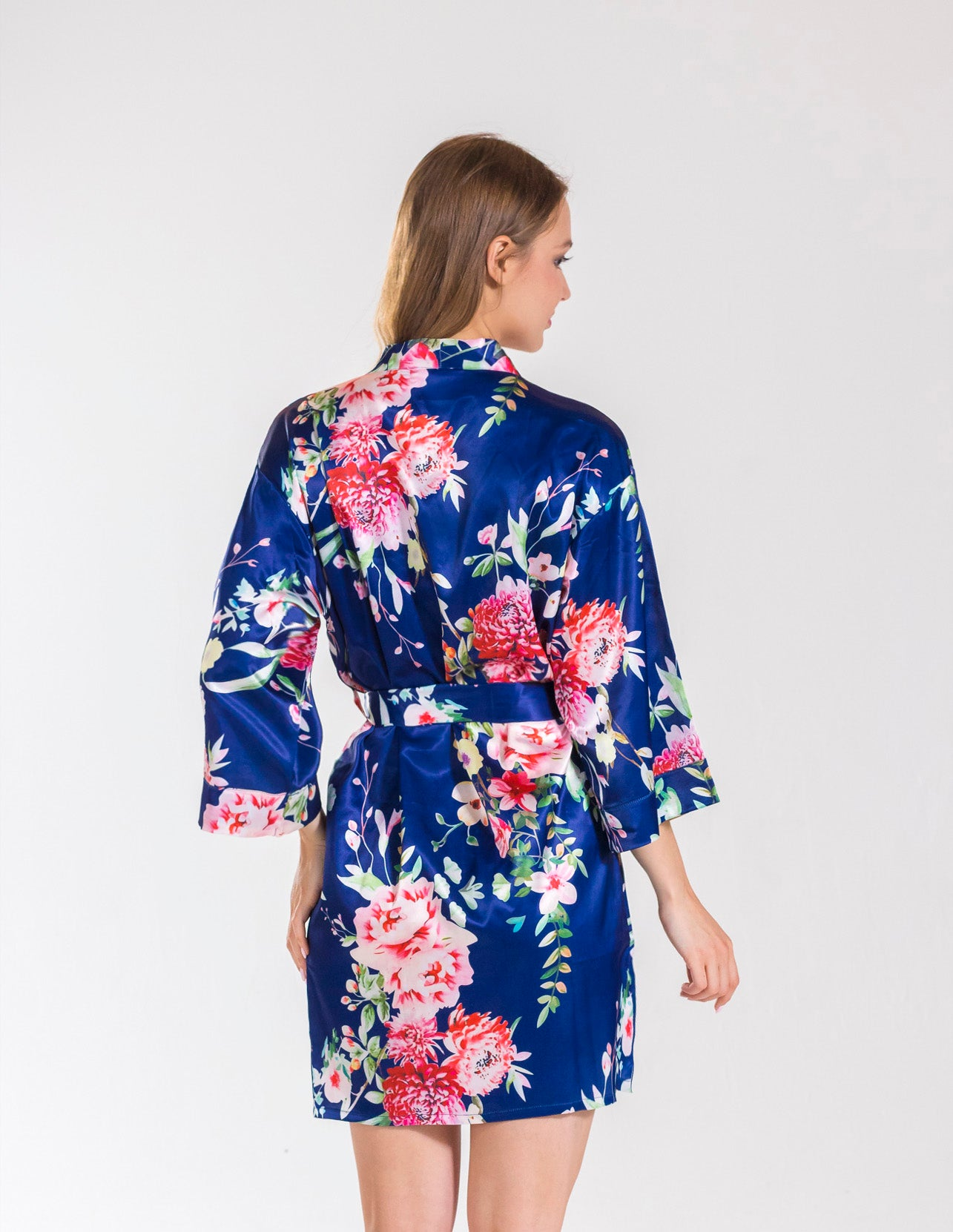 Angelina Navy Floral Bridesmaid Satin Robe Bella Bride Bridal