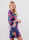 Isabella Navy Floral Bridesmaid Satin Robe