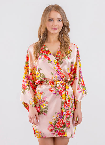 Sabrina Floral Print (Blush) Satin Robe - Sale