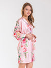 Angelina Pink Floral Bridesmaid Satin Robe