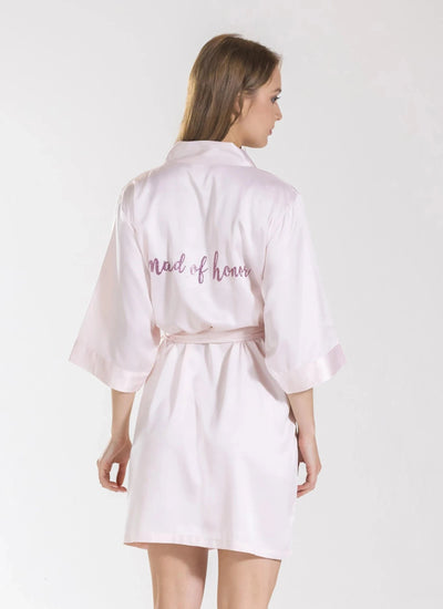 Blush Bridal Party Robes with Rose Gold Glitter