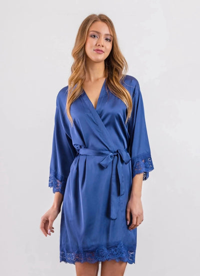 Navy Matte Satin Bridesmaid Robe