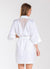 White Satin Bride Robe with Lace Back Yoke