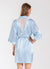 Pale Blue  Bridesmaid Satin Robe with White Lace Back Yoke