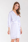 Bride Matte Satin Robe with Lace