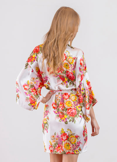 Sabrina Floral Print (Ivory) Bridesmaid Satin Robe - Sale