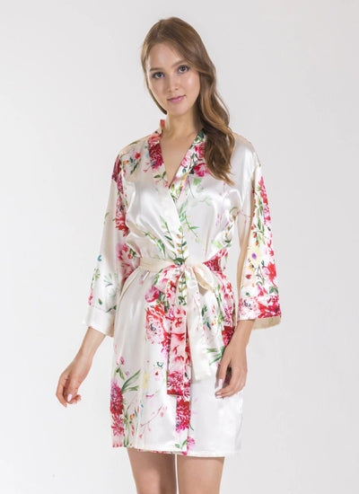 Angelina Ivory Floral Bridesmaid Satin Robe