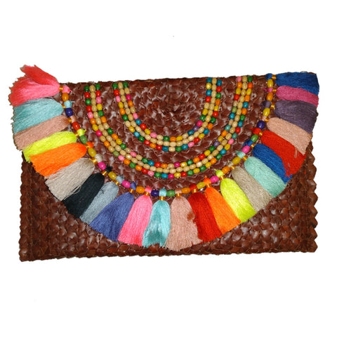 Rainbow Tassles design clutch