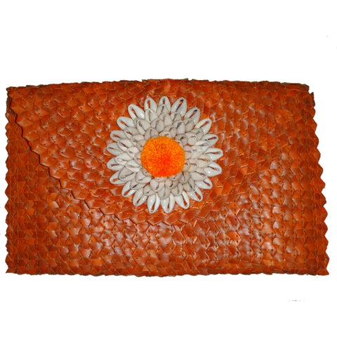 Orange Clutch with Shells
