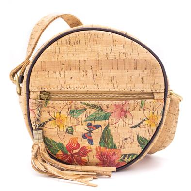 Round crossbody bag-flowery pattern bag