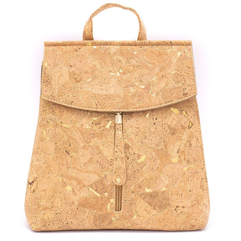 Vegan leather woman Backpack with golden sparks