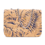 Natural cork bag-Palm pattern- antique silver chain crossbody bag