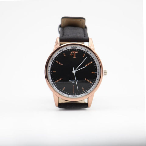 Black and white classic watch with black cork strap