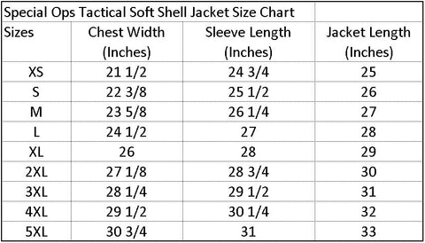 Size chart for Special Ops Tactical Soft Shell Jacket