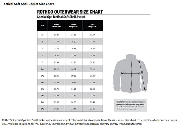 Size Chart - Rothco Special Ops Tactical Fleece Jacket