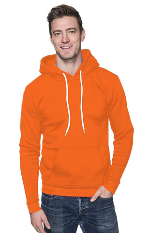 Unisex Fashion Fleece Neon Pullover Hoodie - Neon Orange