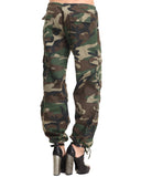 Womens Camo Vintage Paratrooper Fatigue Pants - Woodland Camo