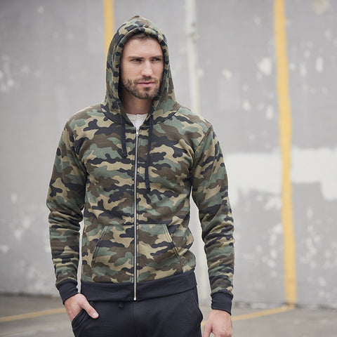 3510CMO Unisex Camo Fleece Full Zip Hoodie-Main