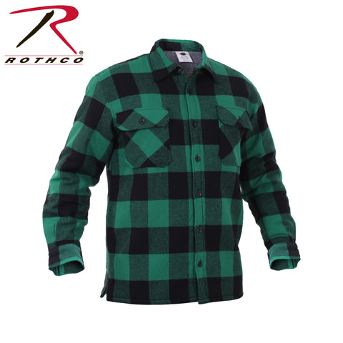 100% Cotton Extra Heavyweight Buffalo Plaid Flannel Shirts - Sherpa Lined, in Green
