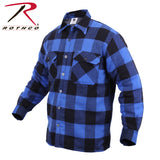 100% Cotton Extra Heavyweight Buffalo Plaid Flannel Shirts - Sherpa Lined, in Blue