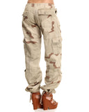 Womens Camo Vintage Paratrooper Fatigue Pants - Tri-Color Desert Camo