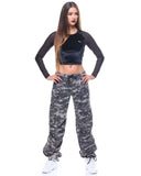 Womens Camo Vintage Paratrooper Fatigue Pants - Subdued Urban Digital Camo