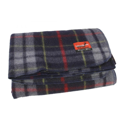 Swiss Link Plaid Wool Blanket - Blue/Grey