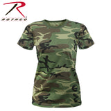 Women's Long Length Camo T-Shirt - Woodland Camo