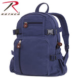 100% Cotton Canvas Vintage Compact Backpack - Navy Blue