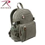 100% Cotton Canvas Vintage Compact Backpack - Olive Drab