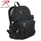 100% Cotton Canvas Vintage Compact Backpack - Black