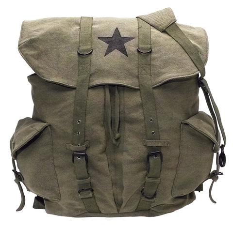 Vintage Weekender Canvas Backpack with Star-Olive Drab