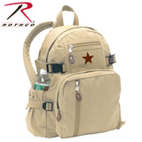100% Cotton Canvas Vintage Compact Backpack - Khaki