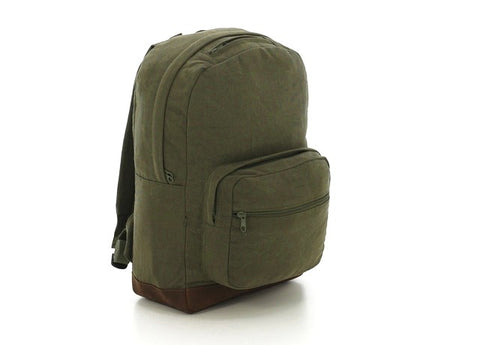 Vintage Canvas Teardrop Backpack With Leather Accents - Main