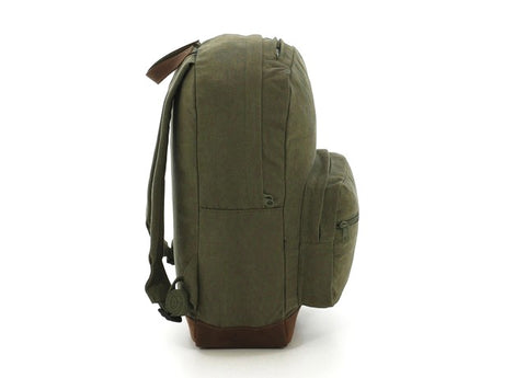 Vintage Canvas Teardrop Backpack With Leather Accents - Olive Drab