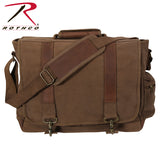 Rothco Vintage Canvas Pathfinder Laptop Bag With Leather Accents - Earth Brown