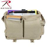 Vintage Canvas Pathfinder Laptop Bag With Leather Accents - Interior contents with school supplies