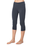 Organic Cotton Spandex Crop Pant with Shirring - Charcoal