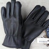 Black cowhide leather work glove with alpaca wool knit interior