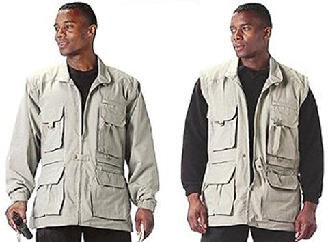 100% Cotton Convertible Safari Jacket - Khaki