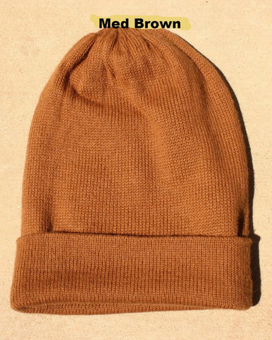Iditarod 100% Alpaca and Fleece Beanie Hat - Medium Brown