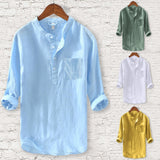 Men's Cotton And Hemp Long Sleeve Casual Shirt