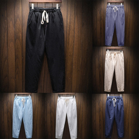 Mens Natural Cotton Linen 3/4 Pants