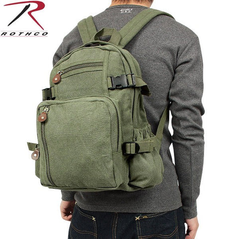 100% Cotton Canvas Vintage Compact Backpack-Main