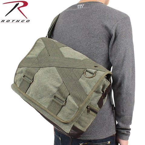 Rothco Vintage Canvas Outback Messenger Bag-Olive Drab