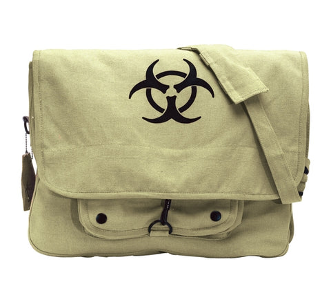 Vintage Canvas Paratrooper Bag with Bio-Hazard Symbol - Khaki