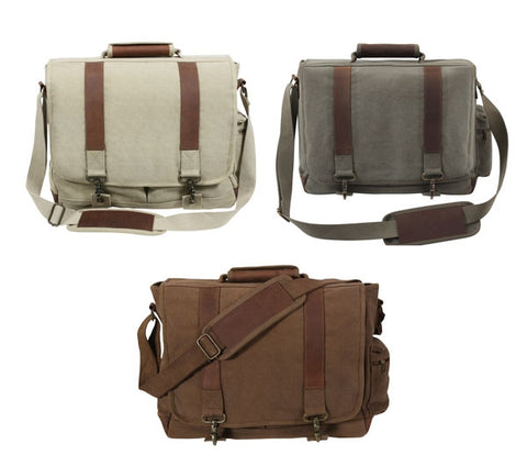 Vintage Canvas Pathfinder Laptop Bag With Leather Accents - 3 Colors